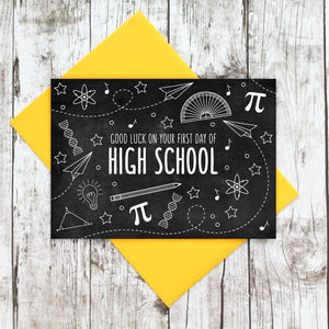Good Luck on Your First Day of High School Blackboard Card