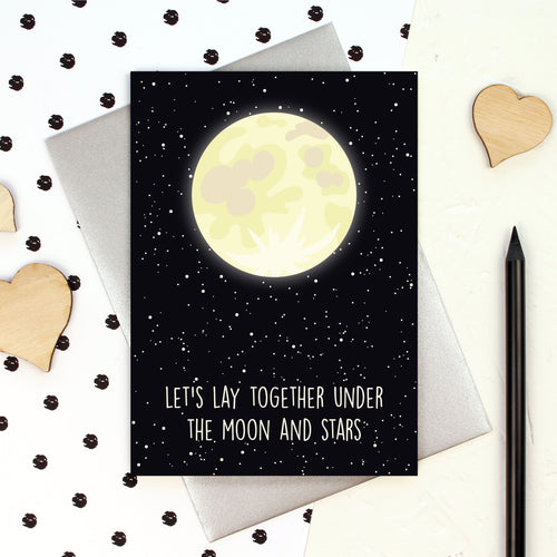Let's lay together under the moon and stars card
