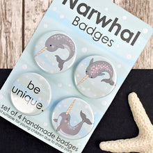 Load image into Gallery viewer, Cute narwhal badges