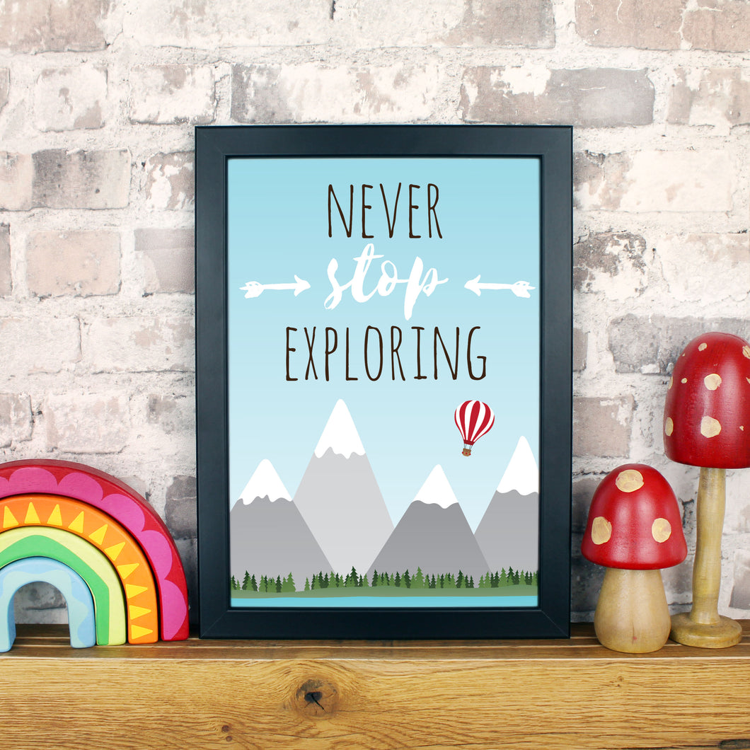 Never stop exploring wall art
