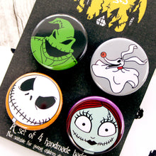 Load image into Gallery viewer, Close up of Nightmare Before Christmas badges