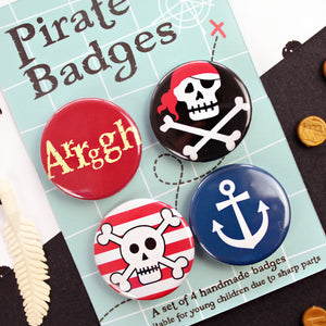 Close up of pirate badge set