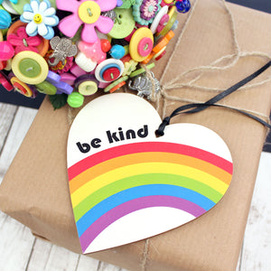 Be kind retro heart with rainbow