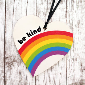 Be kind heart with retro rainbow