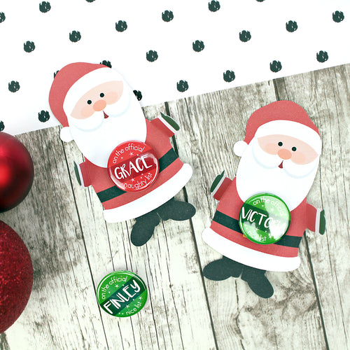 Santa with naughty or nice badges