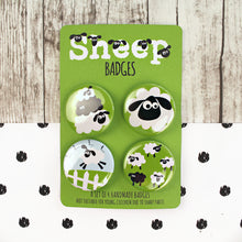 Load image into Gallery viewer, Black and White Sheep Badges