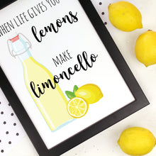 Load image into Gallery viewer, Limoncello print with lemons