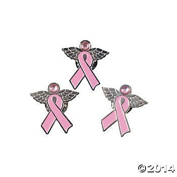 12 Metal Pink Ribbon Angel Pins~Breast Cancer Events