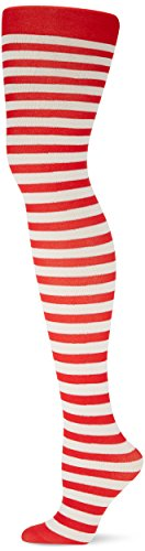 Fun-Filled Christmas And Holiday Party Candy Stripe Tights - Women , Red-White, Fabric