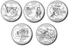 2002-D State Quarter Set: 5 Coins