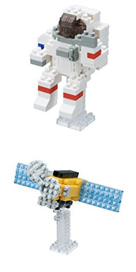 Two Unique Nanoblock Space Sets Sold Together - Astronaut And Satellite