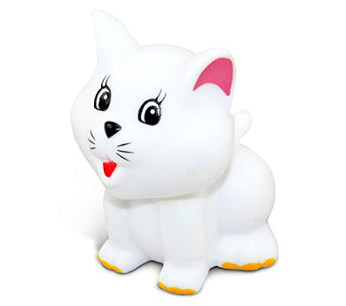 Puzzled Cat Bath Buddy Squirter White 3 Inch