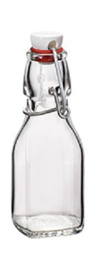 Bormioli Rocco Swing Top Square Glass 4.25 Ounce Bottle - Wedding, Sample, Crafting Bottles