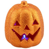Halloween Decoration-Led Glittery Orange Plastic Pumpkins