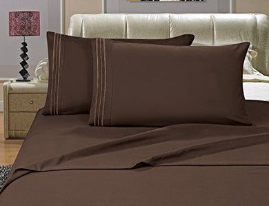 #1 Best Seller Luxury Bed Sheets Set On Amazon! - Highest Quality 1500 Thread Count Egyptian Quality Wrinkle, Fade, Stain Resistant - Hypoallergenic - 4 Piece Sheet Set, Full , Chocolate Brown
