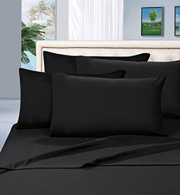 #1 Best Seller Luxury Pillowcases On Amazon! Highest Quality - Elegance Linen 1500 Thread Count Egyptian Quality Luxury Silky Soft Wrinkle-Resistant 2-Piece Pillowcases, King Size - Black