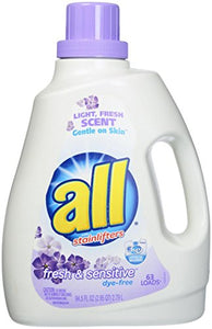 All Liquid Laundry Detergent, Free & Clear- Fresh & Sensitive - 94.5 Oz