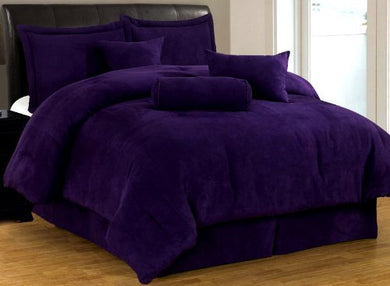 7 Pc Luxury Super Set, Solid Purple Suede Comforter Set / Bed In Bag - Queen Size Bedding
