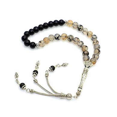 Black Dragon Vein Agate And Onyx Prayer Beads (33 Beads) Tesbih-Tasbih-Tasbeeh-Misbaha-Masbaha-Subha-Sebha-Sibha-Rosary-Worry Beads
