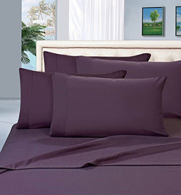 #1 Best Seller Luxury Pillowcases On Amazon! Highest Quality - Elegance Linen 1500 Thread Count Egyptian Quality Luxury Silky Soft Wrinkle-Resistant 2-Piece Pillowcases, King Size - Purple