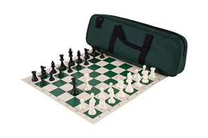 Deluxe Chess Set Combination - Triple Weighted - Forest Green - By Us Chess Federation