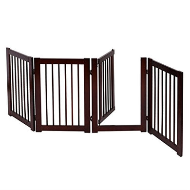 30  Configurable Folding Free Standing 4 Panel Wood Pet Dog Safety Fence W/ Gate