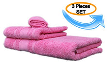 Load image into Gallery viewer, All Design'S Turkish Dobby Terry Border 3 Pieces Towel Set (1 Bath Towel, 1 Hand Towel, And 1 Wash Cloth) 100% Cotton, Pink Color