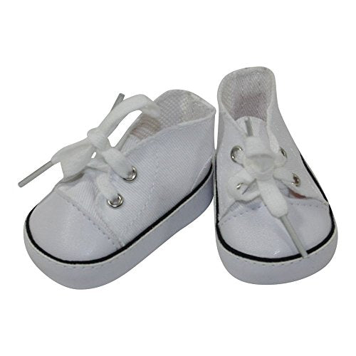 Arianna Fits American Girl 18 Inch Doll - White Canvas Sneaker - 18 Inch Doll Shoes - Boutique Quality She'S Worth It! - Designed In Usa Fits 18 Inch Dolls