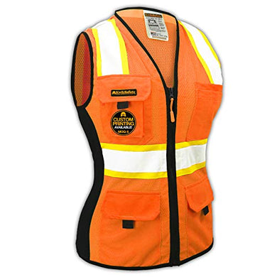 Kwiksafety (Charlotte, Nc) First Lady Safety Vest For Women | Class 2 Ansi Osha Ppe | High Visibility Heavy Duty Mesh Pockets Zipper | Hi-Vis Construction Work Hi-Vis Surveyor Female | Orange Medium