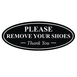 Oval Please Remove Your Shoes Thank You Sign - Black Large