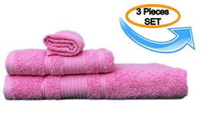 All Design'S Turkish Dobby Terry Border 3 Pieces Towel Set (1 Bath Towel, 1 Hand Towel, And 1 Wash Cloth) 100% Cotton, Pink Color