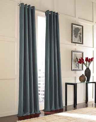 Curtainworks Messina Grommet Cotton Curtain Panel, 52 By 120, Slate Blue
