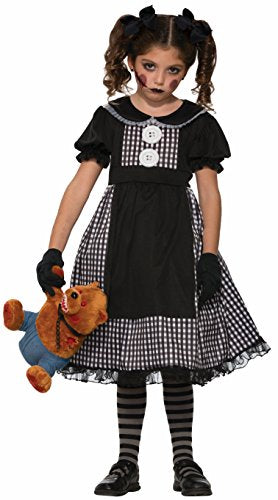 Forum Novelties Kids Dark Rag Doll Costume, Black, Large