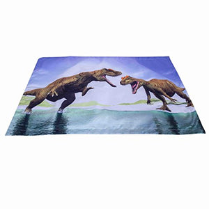 Alicemall 3D Dinosaur Bedding Powerful Dinosaur Battle Blue 5-Piece Comforter Sets Unique 3D Dinosaur Quilt Bedding For Kids And Adults, Full Size (Full, Blue)