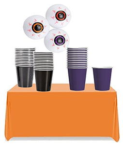 Halloween Inspired Beer Pong Party Accessories Set! Halloween Colored Cups, Ping Pong Eyeballs & Orange Table Cover!