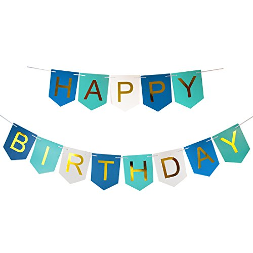 Brcohco Happy Birthday Banner Bunting With Shiny Gold Letters Party Supplies Blue&White