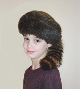 Davy Crockett Or Daniel Boon Style Coon Skin Hat With Real Tail (Medium)