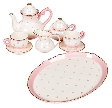 Zoey Dots Design White Porcelain Childrens Tea Party Set