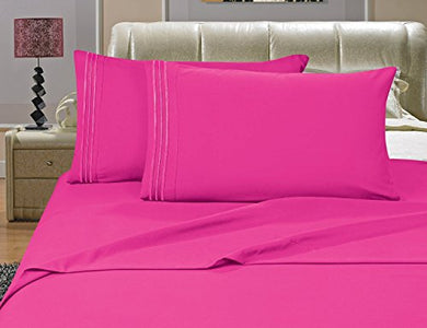 #1 Best Seller Luxury Bed Sheets Set On Amazon! - Highest Quality 1500 Thread Count Egyptian Quality Wrinkle, Fade, Stain Resistant - Hypoallergenic - 3-Piece Sheet Set , Twin, Pink