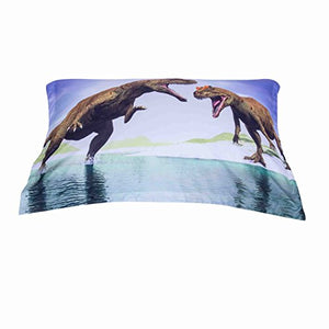 Alicemall 3D Dinosaur Bedding Powerful Dinosaur Battle Blue 5-Piece Comforter Sets Unique 3D Dinosaur Quilt Bedding For Kids And Adults, Queen Size (Queen, Blue)