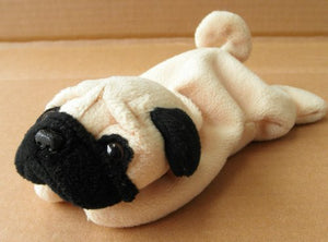 Ty Beanie Babies Pugsly The Pug Dog Stuffed Animal Plush Toy - 6 Inches Long - Brown