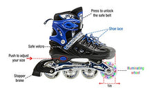 Load image into Gallery viewer, Kids Adjustable Inline Roller Blade Skates Long Feng Safe Durable Outdoor Featuring Illuminating Front Wheels Blue Medium Sizes 905