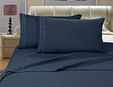 #1 Best Seller Luxury Bed Sheets Set On Amazon! - Highest Quality 1500 Thread Count Egyptian Quality Wrinkle, Fade, Stain Resistant - Hypoallergenic - 4 Piece Sheet Set, Queen , Navy