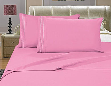 #1 Best Seller Luxury Bed Sheets Set On Amazon! - Highest Quality 1500 Thread Count Egyptian Quality Wrinkle, Fade, Stain Resistant - Hypoallergenic - 3-Piece Sheet Set, Twin, Light Pink