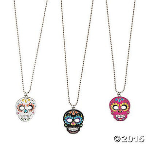 Day Of The Dead Necklaces - 12 Ct