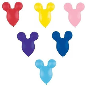 Loonballoon Mickey Mouse Head Ears Face Red Yellow Pink Purple Blue 25 Party Latex Balloons