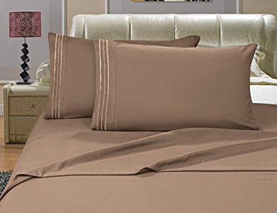 #1 Best Seller Luxury Bed Sheets Set On Amazon! - Highest Quality 1500 Thread Count Egyptian Quality Wrinkle, Fade, Stain Resistant - Hypoallergenic - 4 Piece Sheet Set, Full, Taupe