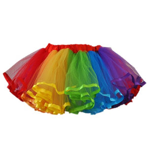 Rainbow Color Tulle Tutu 4 Layer With Red Waistband For Girl'S (Large)