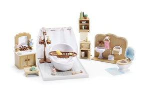 Calico Critters Of Cloverleaf Corners Furniture Bundle  Deluxe Bathroom Set With Babys Nursery Set And Kozy Kitchen Set  Build Skills With Imaginative Play