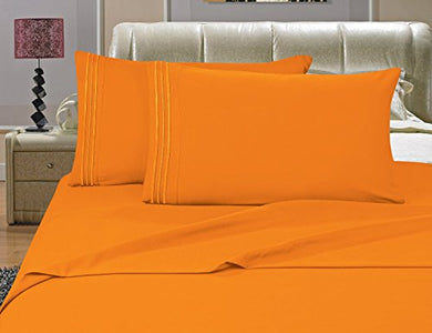 #1 Best Seller Luxury Bed Sheets Set On Amazon! - Highest Quality 1500 Thread Count Egyptian Quality Wrinkle, Fade, Stain Resistant - Hypoallergenic - 4 Piece Sheet Set , Full, Elite Orange